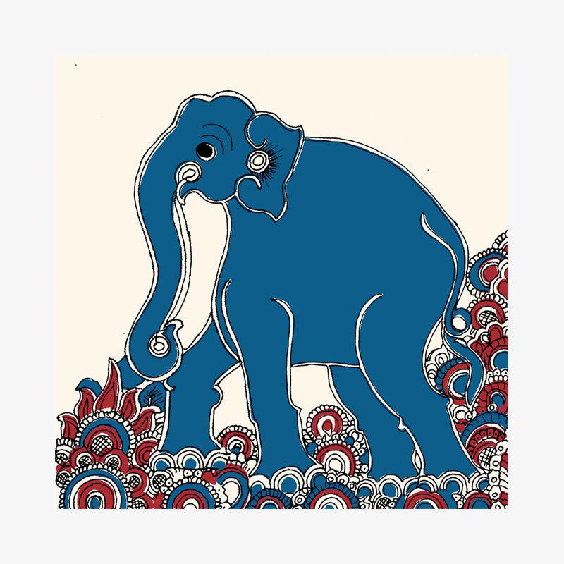 Kalamkari Elephant Card