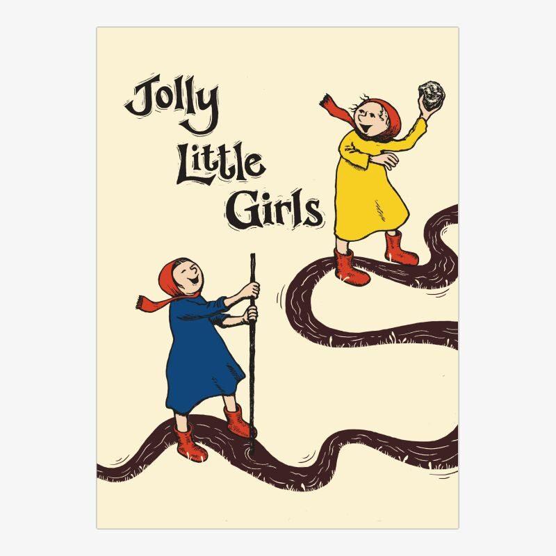 Jolly Little Girls - Pack of Letterpress Prints